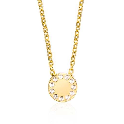 (G) Brilliance Puck Crystal Necklace